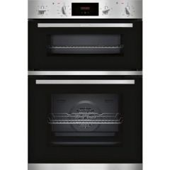 Neff U1GCC0AN0B Built In Electric Double Oven - Black + Steel - A Energy Rated