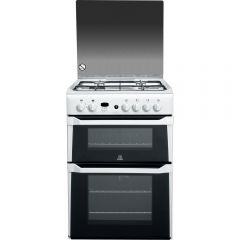 Indesit ID60G2W Gas Double Oven Cooker With Fsd White